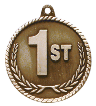 "6S5522 1ST PLACE HIGH RELIEF MEDAL (Medal: 2"" Antique Gold)"