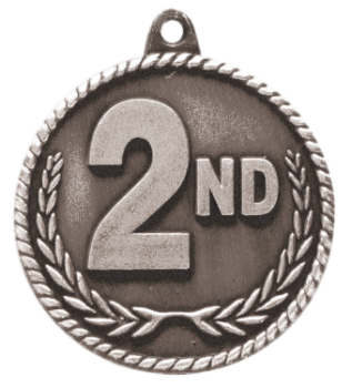 "6S5523 2ND PLACE HIGH RELIEF MEDAL (Medal: 2"" Antique Silver)"