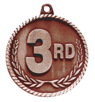 "6S5524 3RD PLACE HIGH RELIEF MEDAL (Medal: 2"" Antique Bronze)"