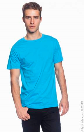 Men's Fashion Fit Ringspun T Shirt 980 (Color: Caribbean Blue, Size: Small)