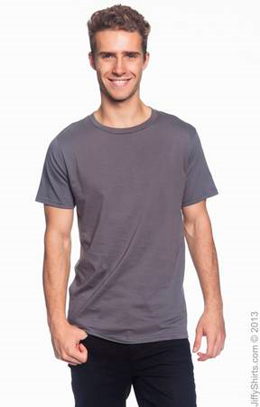 Men's Fashion Fit Ringspun T Shirt 980 (Color: Charcoal, Size: Small)