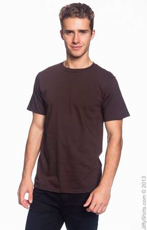 Men's Fashion Fit Ringspun T Shirt 980 (Color: Chocolate, Size: Small)
