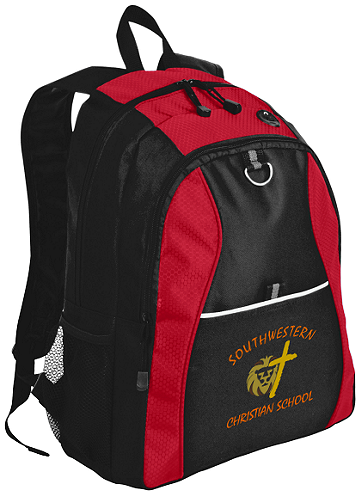 Port Authority® Contrast Honeycomb Backpack (Backpack Colors: Red/Black)