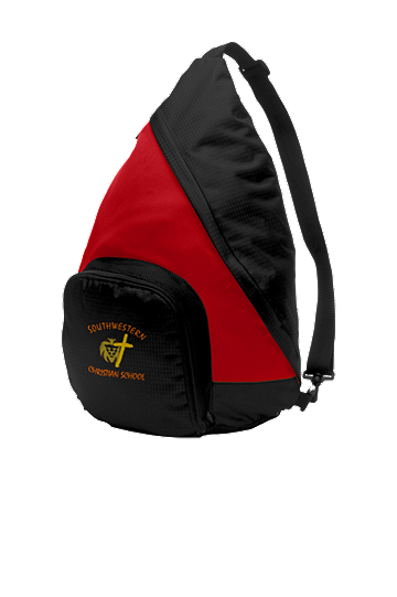 Port Authority® Active Sling Pack - School Logo and Student Name (Color: True Red/Black)