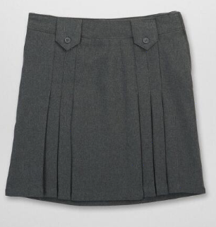 French Toast Front Pleated Skirt (Color: Skirt Grey, Size: Skirt Size 4)