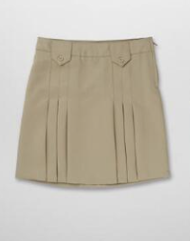 French Toast Front Pleated Skirt (Color: Skirt Khaki, Size: Skirt Size 4)