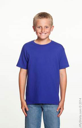 Youth Heavy Cotton T Shirt Uni-Sex G500B (Color: Cobalt, Size: Large)