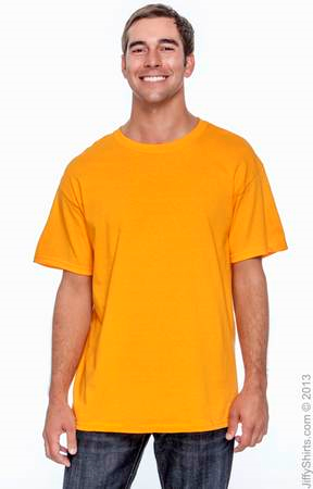 Adult Unisex Heavy Cotton Activewear 5.3 oz. T Shirt G500. (Color: Tennessee Orange, Size: XL)