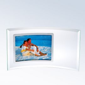 "Curved Glass Horizontal Silver Photo Frame, Prism Glass (Frame: SM - 5.5x12"" (3.5x5"" photo) Curved Horizontal Silver Photo Frame)"
