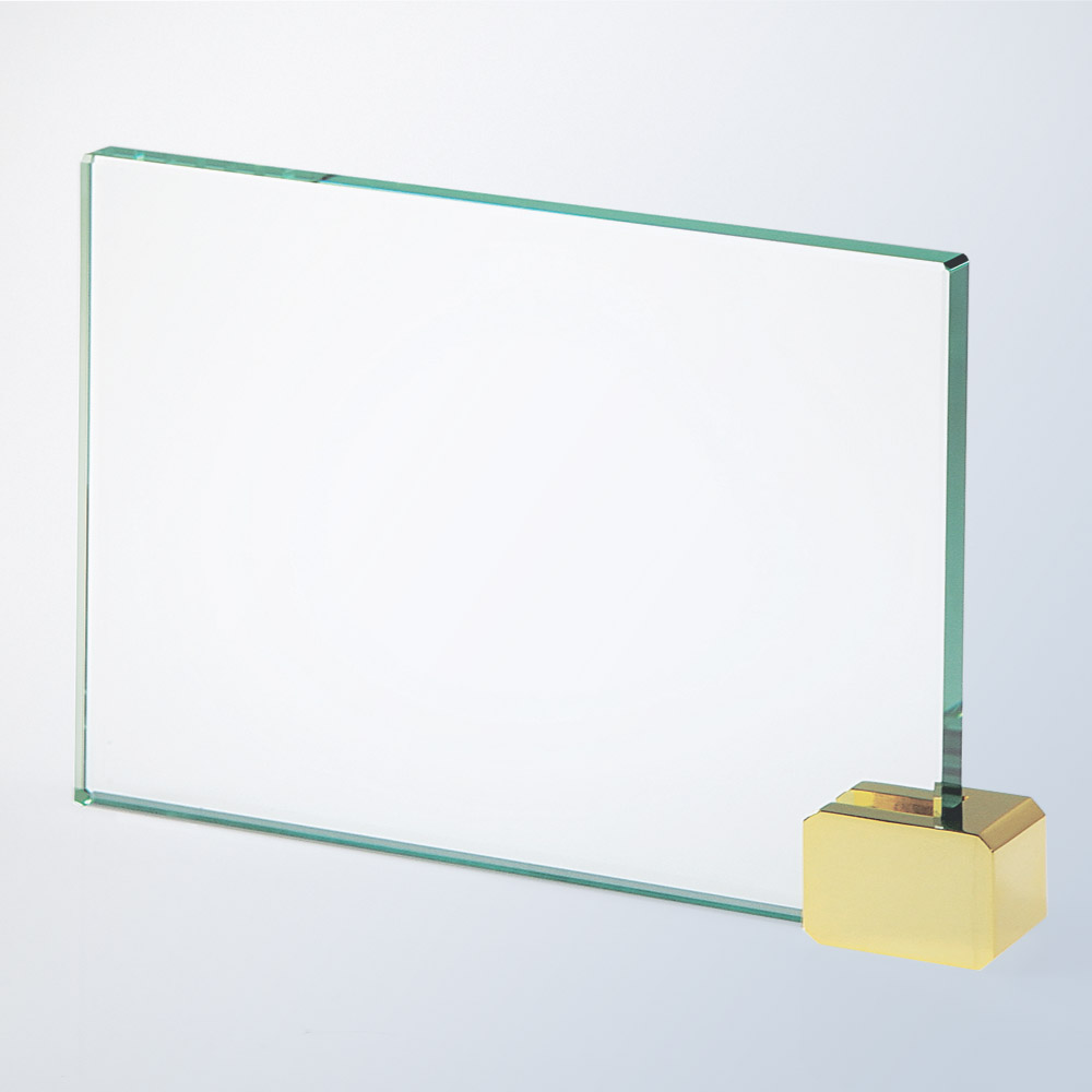 1PSMGCP Jade Glass Achievement Award w/ brass holder (Plaque: SM 4 x 6 Glass Award w/brass holder)
