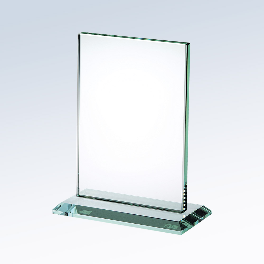 1PSMG8410 Vertical Jade Glass Plaque w/base (Plaque: SM 6-1/2 X 5 Glass Vertical w/base)