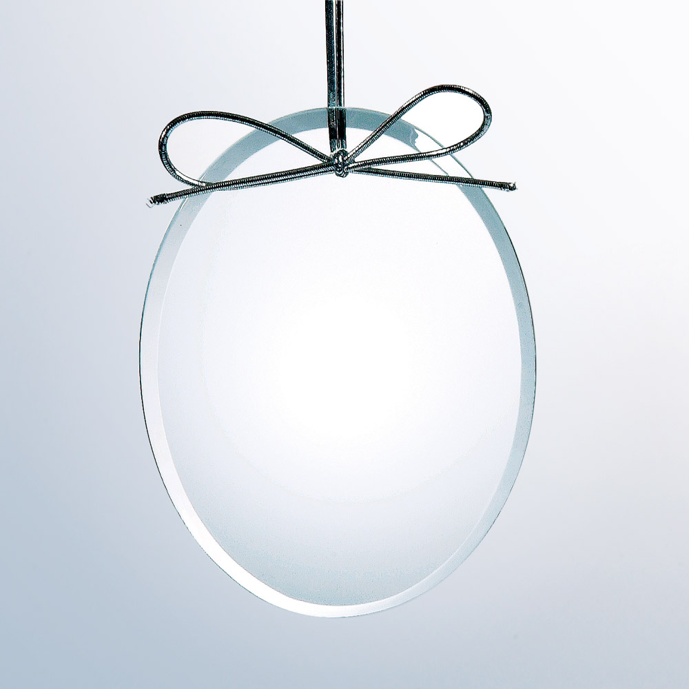 Beveled Oval Ornament -Starfire Clear Glass (Ornament: 4 x 3 Oval Ornament)