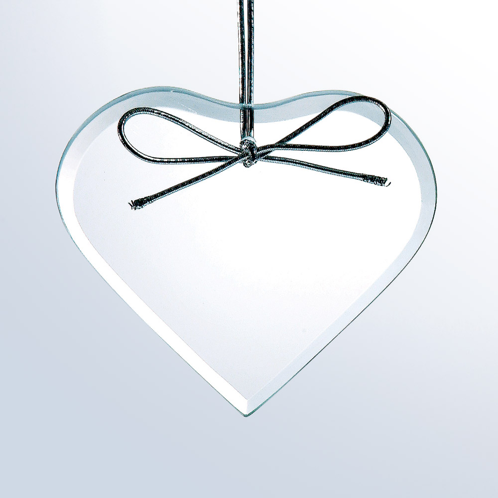 Beveled Heart Ornament -Starfire Clear Glass (Ornament: 3-3/4 x 3-1/2 Heart Ornament)