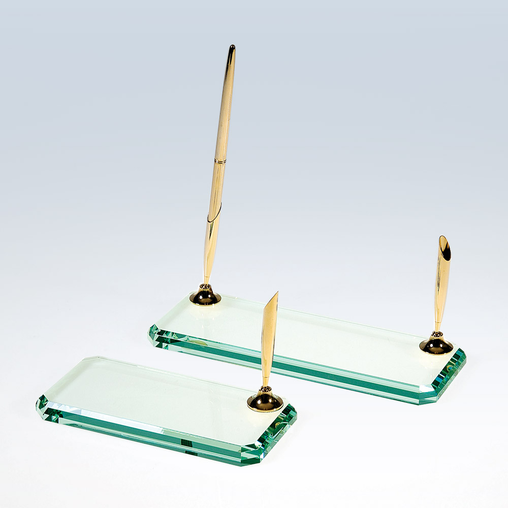 Beveled Edge Pen Set-Jade Glass (Gold) (Desk Sets: Single Pen Holder 6x3)