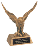 "2PJDS952 Premier Gold Eagle Resin Award (Award: 6 1/2"" Gold Eagle Resin)"
