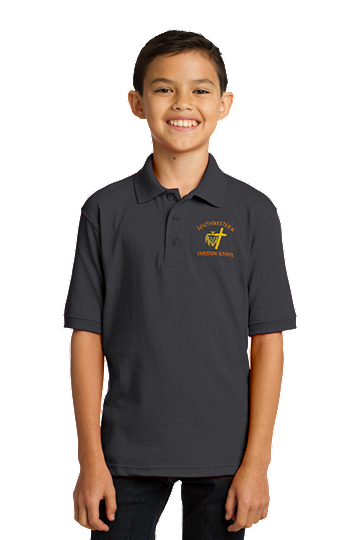 Port & Company® Youth Core Blend Jersey Knit Polo - SWCS (Polo Color: Grey, Polo Size: XS - 4/5)