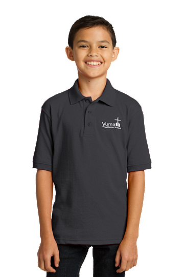 Port & Company® Youth Core Blend Jersey Knit Polo - Unisex (Polo Color: Grey, Polo Size: XS - 4)
