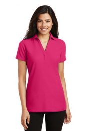 Ladies Personalized Silk Touch V-Neck Polo by Port Authority. L5001 (Color: Pink Raspberry, Size: Large)