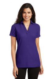 Ladies Personalized Silk Touch V-Neck Polo by Port Authority. L5001 (Color: Purple, Size: Large)
