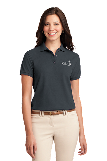 Port Authority® Ladies Silk Touch™ Polo - YLS Student, Staff and Parent (Polo Size: XS - 2, School Colors: Grey)