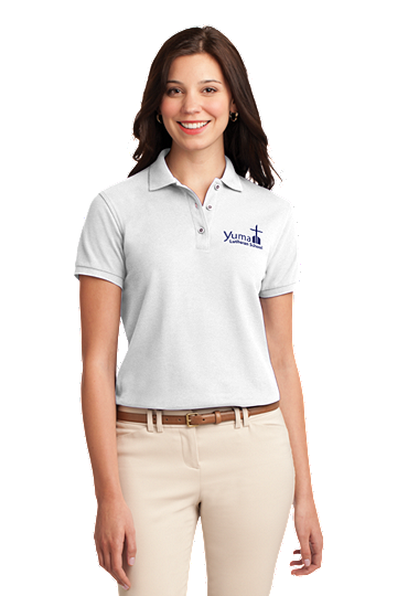 Port Authority® Ladies Silk Touch™ Polo - YLS Student, Staff and Parent (Polo Size: XS - 2, School Colors: White)