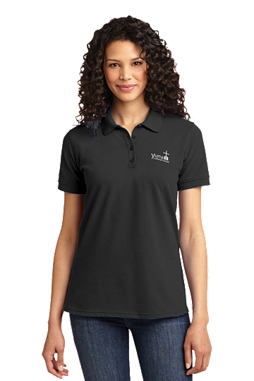 Port & Company® Ladies Core Blend Pique Polo - YLS (Polo Size: XS - 2, School Colors: Grey)