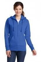 Ladies Classic Full-Zip Hooded Sweatshirt by Port & Company. LPC78ZH. (Color: Royal, Size: 2XL)