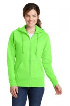 Ladies Classic Full-Zip Hooded Sweatshirt by Port & Company. LPC78ZH. (Color: Neon Green, Size: 2XL)