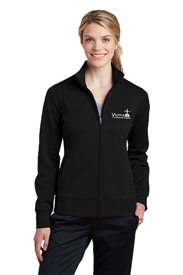 Sport-Tek® Ladies Sport-Wick® Fleece Full-Zip Jacket - YLS (Jacket Size: XS Size 2, School Colors: Black)
