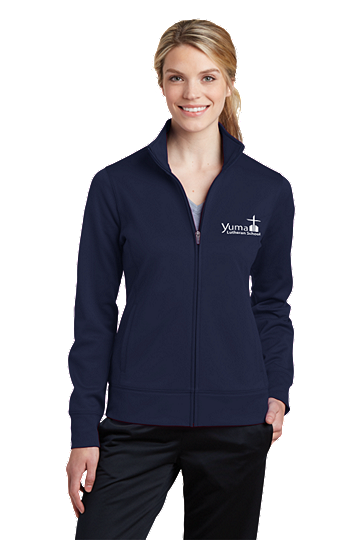 Sport-Tek® Ladies Sport-Wick® Fleece Full-Zip Jacket - YLS (Jacket Size: XS Size 2, School Colors: Navy)