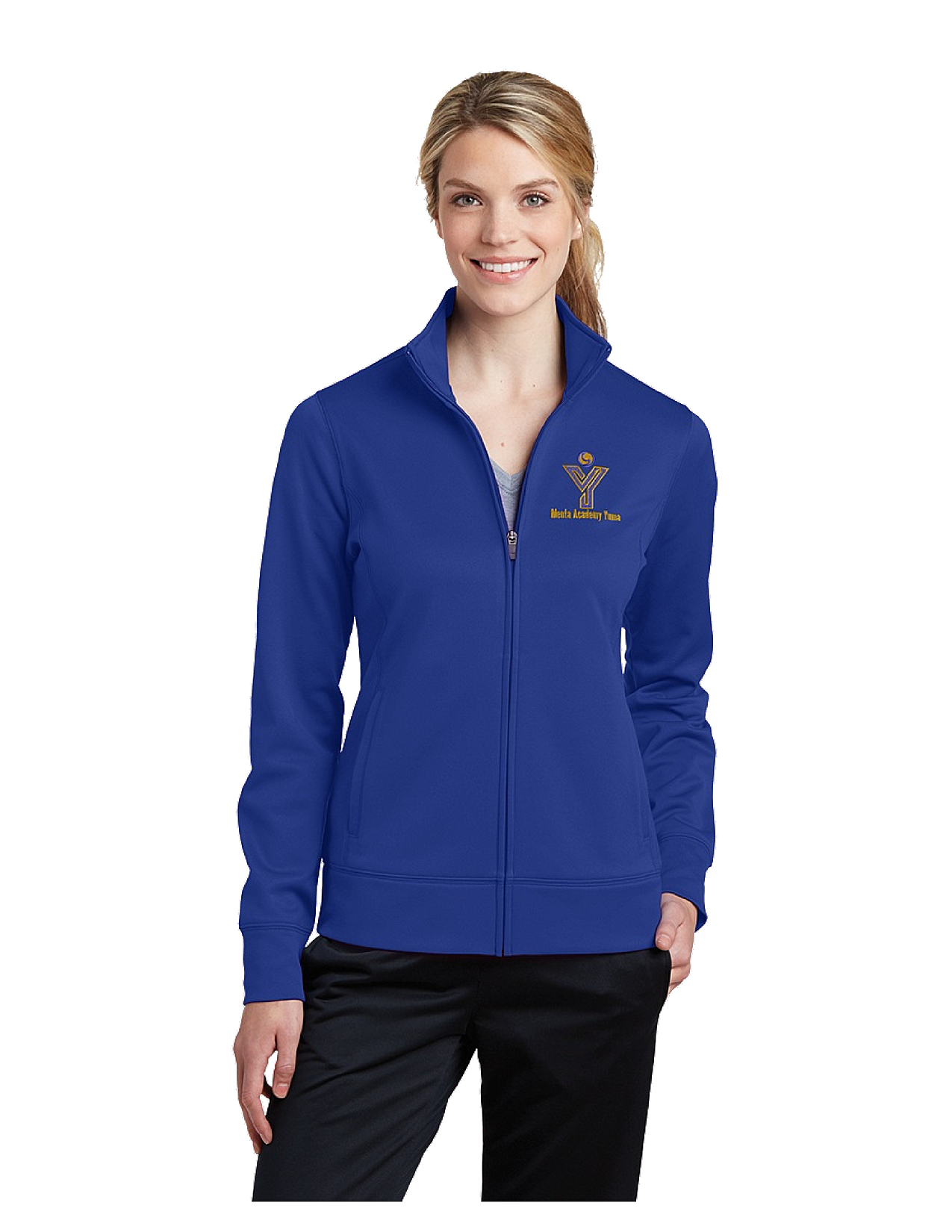 Sport-Tek® Ladies Sport-Wick® Fleece Full-Zip Jacket - MAY (Jacket Size: XS Size 2, School Colors: Royal Blue)