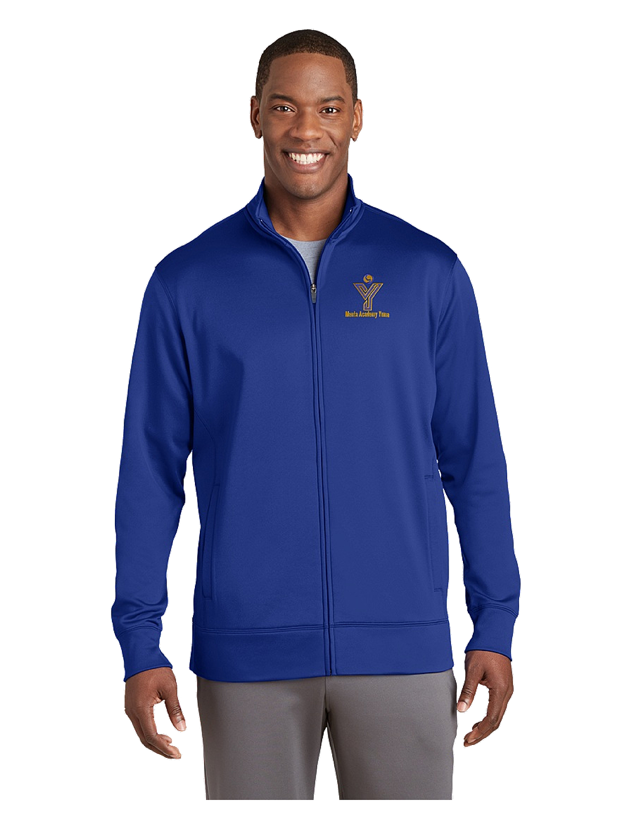 Sport-Tek® Sport-Wick® Men's Fleece Full-Zip Jacket - MAY (Jacket Size: XS Size 32-34, School Colors: Royal Blue)