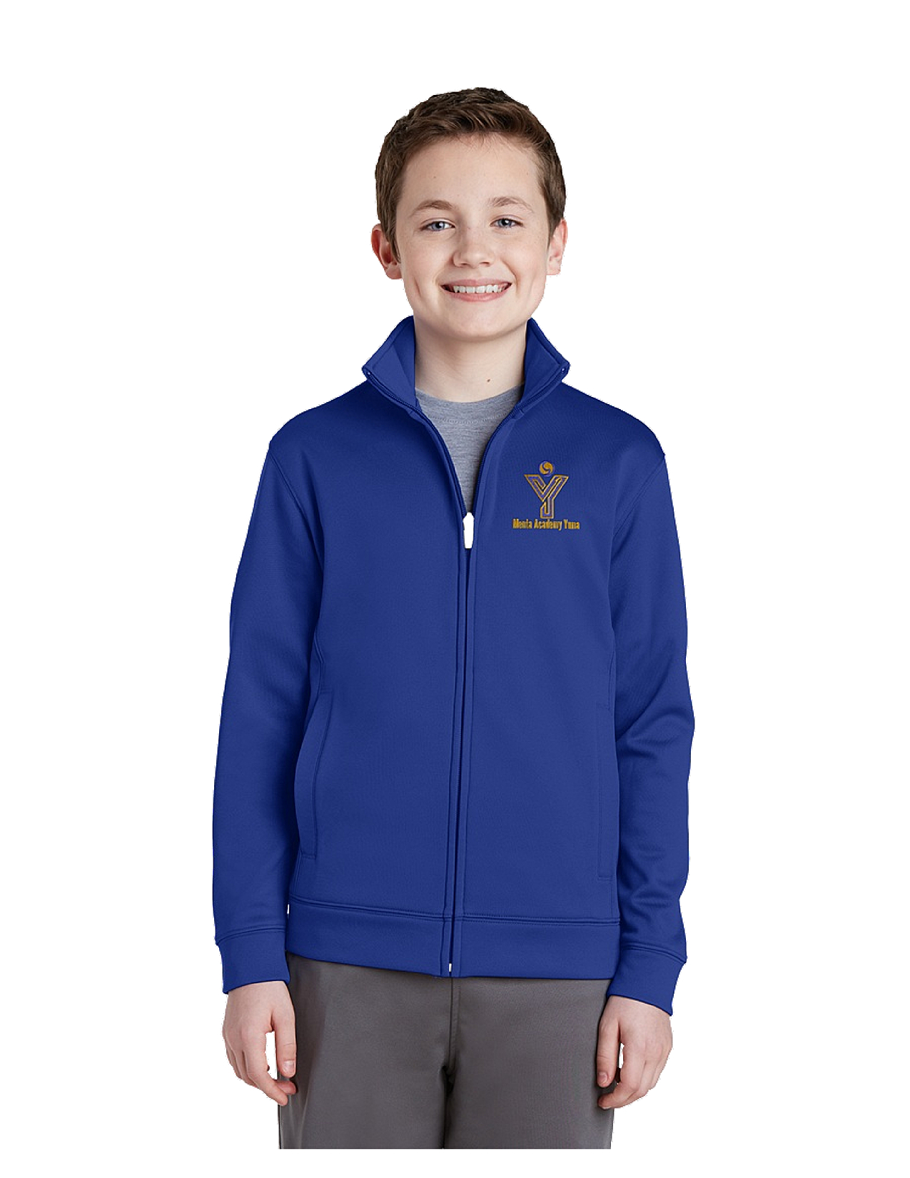 Sport-Tek® Youth Sport-Wick® Fleece Full-Zip Jacket - MAY (Jacket Size: YXS Size 4, School Colors: Royal Blue)