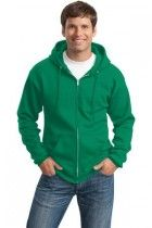 Men's Classic Full-Zip Hooded Sweatshirt by Port & Company. PC78ZH. (Color: Kelly, Size: Large)