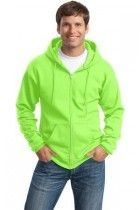 Men's Classic Full-Zip Hooded Sweatshirt by Port & Company. PC78ZH. (Color: Neon Green, Size: Large)