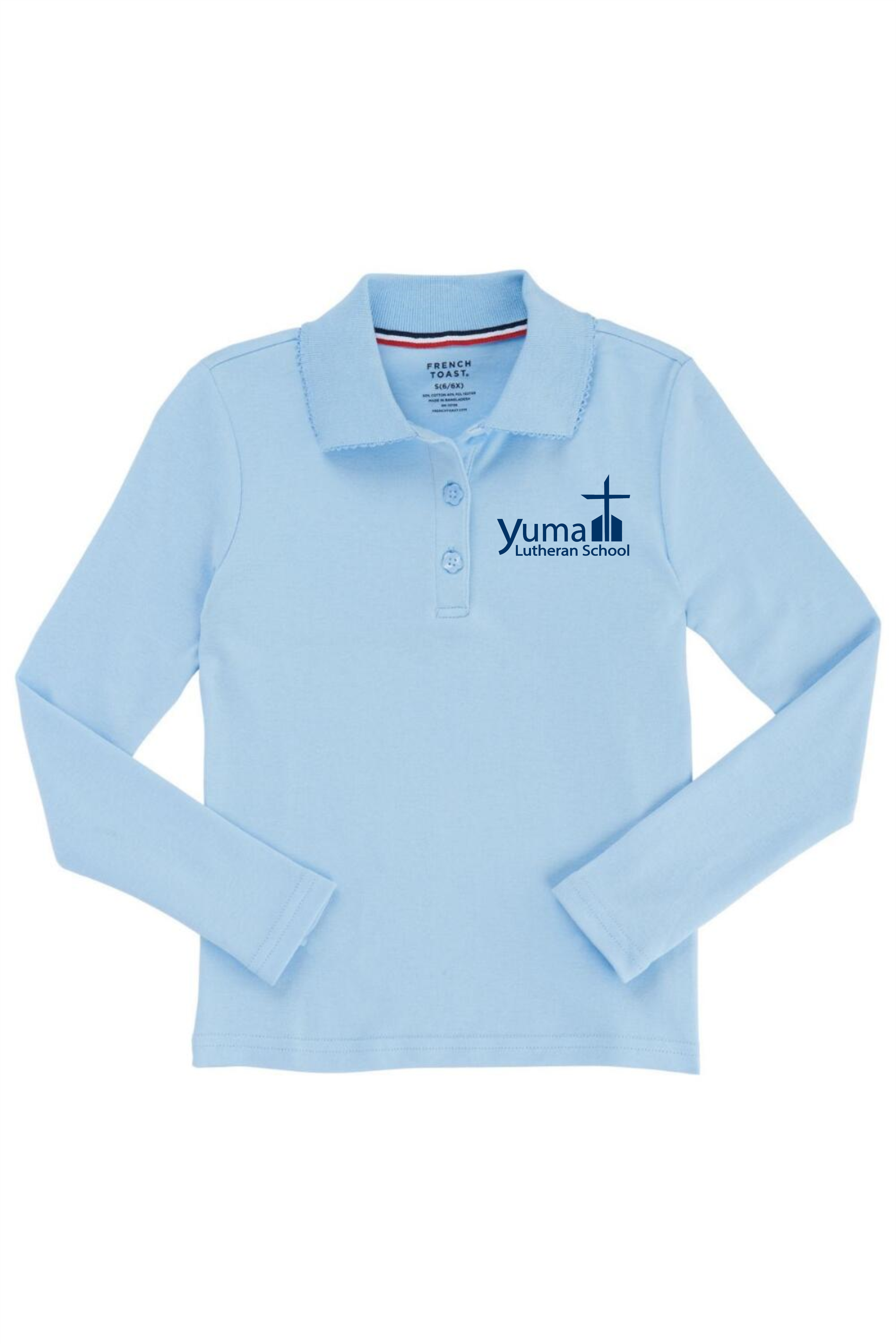 French Toast Girl's Long Sleeve Interlock Knit Polo with Picot Collar (Feminine Fit) (Polo Size: 4T, French Toast Polo Color: Lt Blue - YLS)