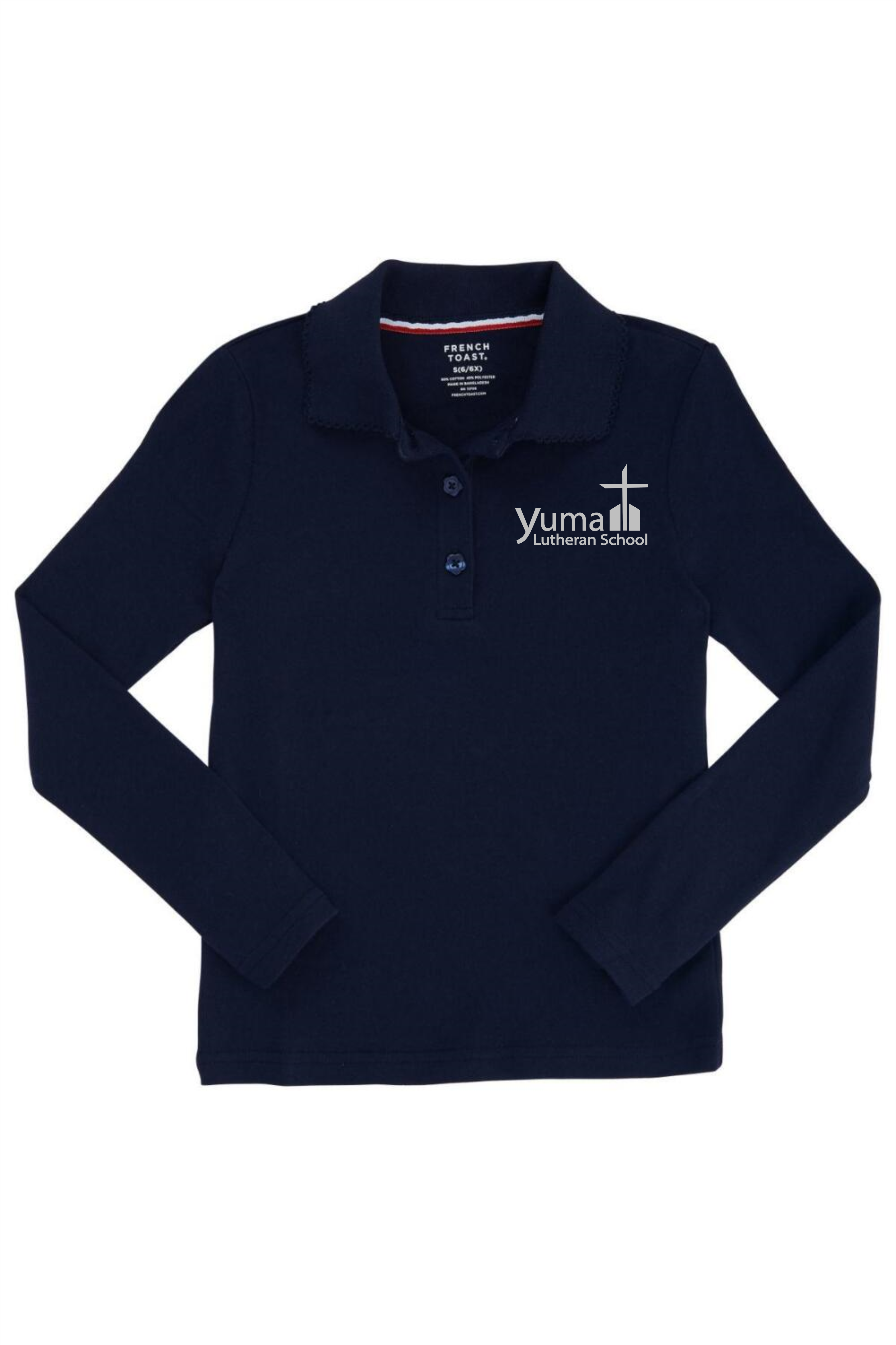 French Toast Girl's Long Sleeve Interlock Knit Polo with Picot Collar (Feminine Fit) (Polo Size: XS - 4/5, French Toast Polo Color: Navy - YLS)