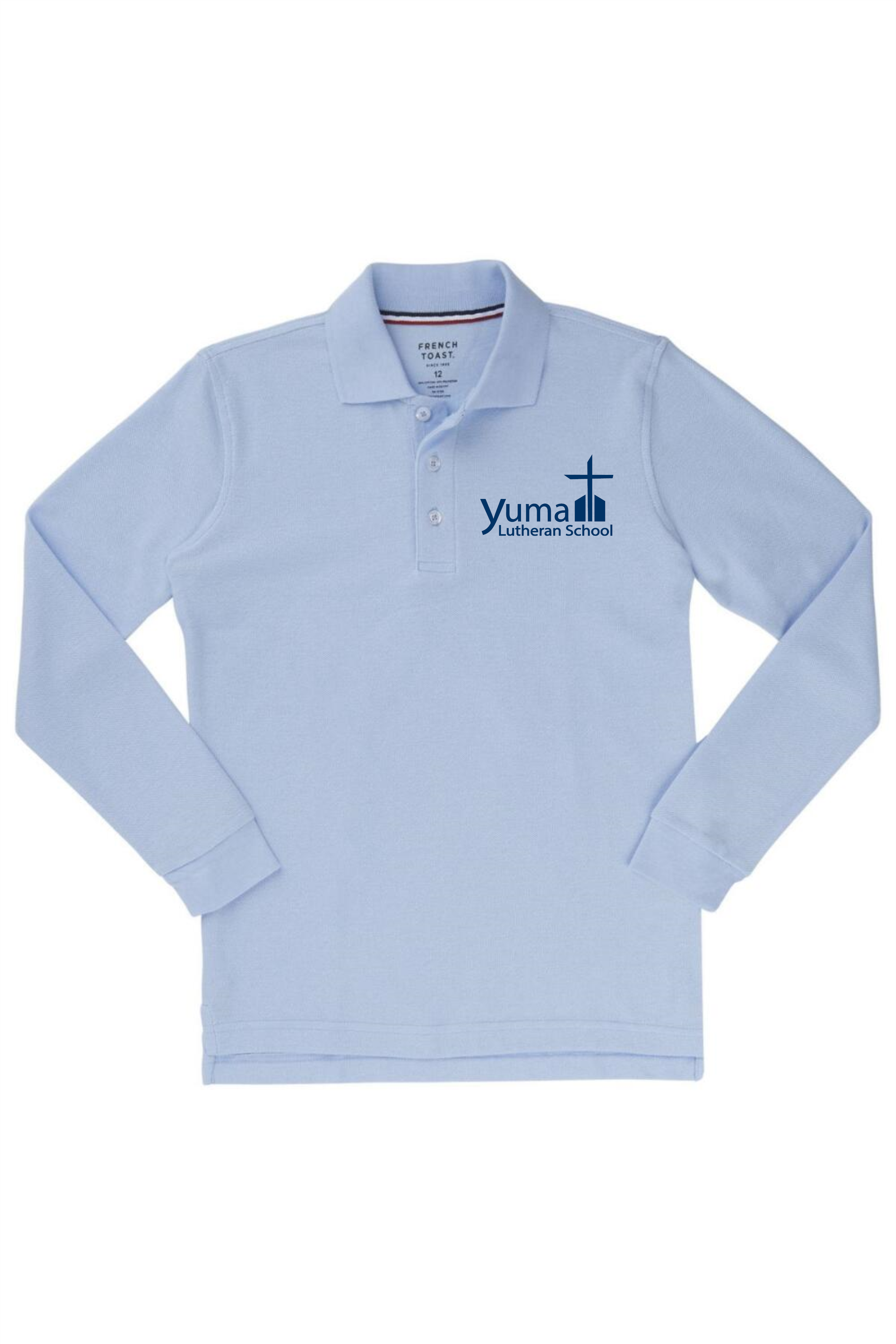 French Toast Boy's Long Sleeve Pique Polo (Polo Size: XS - 4/5, French Toast Polo Color: Lt Blue - YLS)