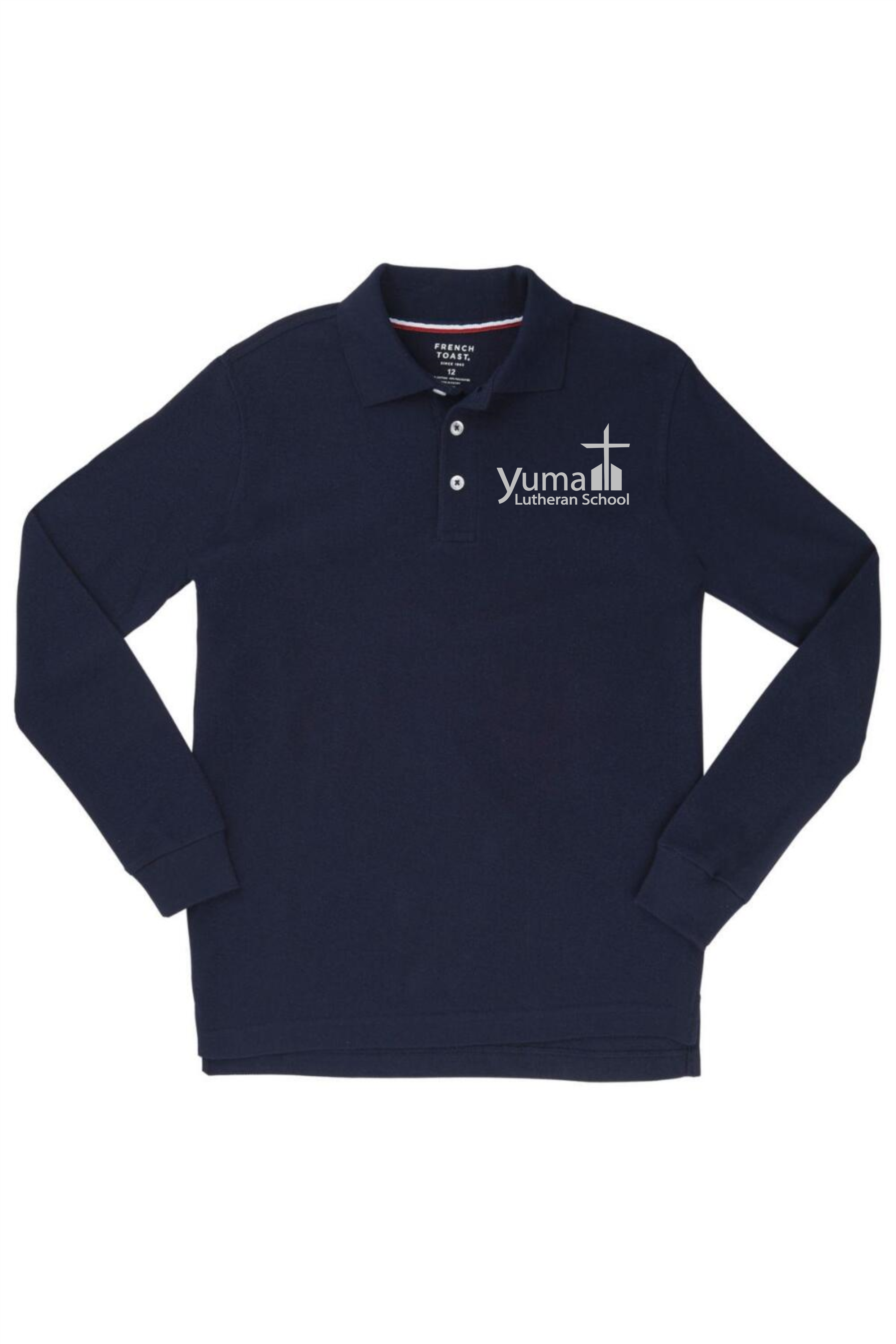 French Toast Boy's Long Sleeve Pique Polo (Polo Size: XS - 4/5, French Toast Polo Color: Navy - YLS)
