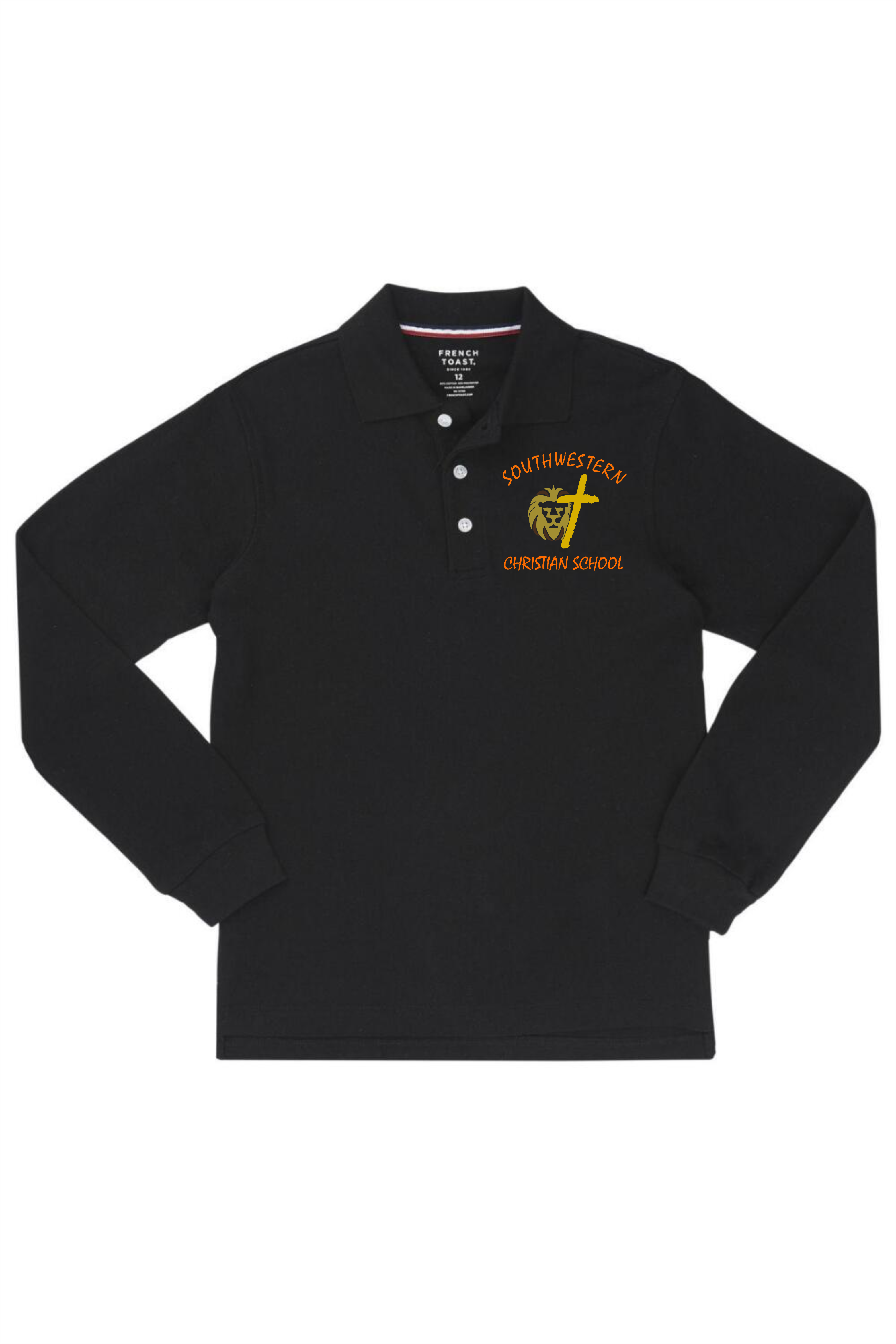 French Toast Boy's Long Sleeve Pique Polo - SWCS (Polo Size: 4T, French Toast Polo Color: Black - SWCS)