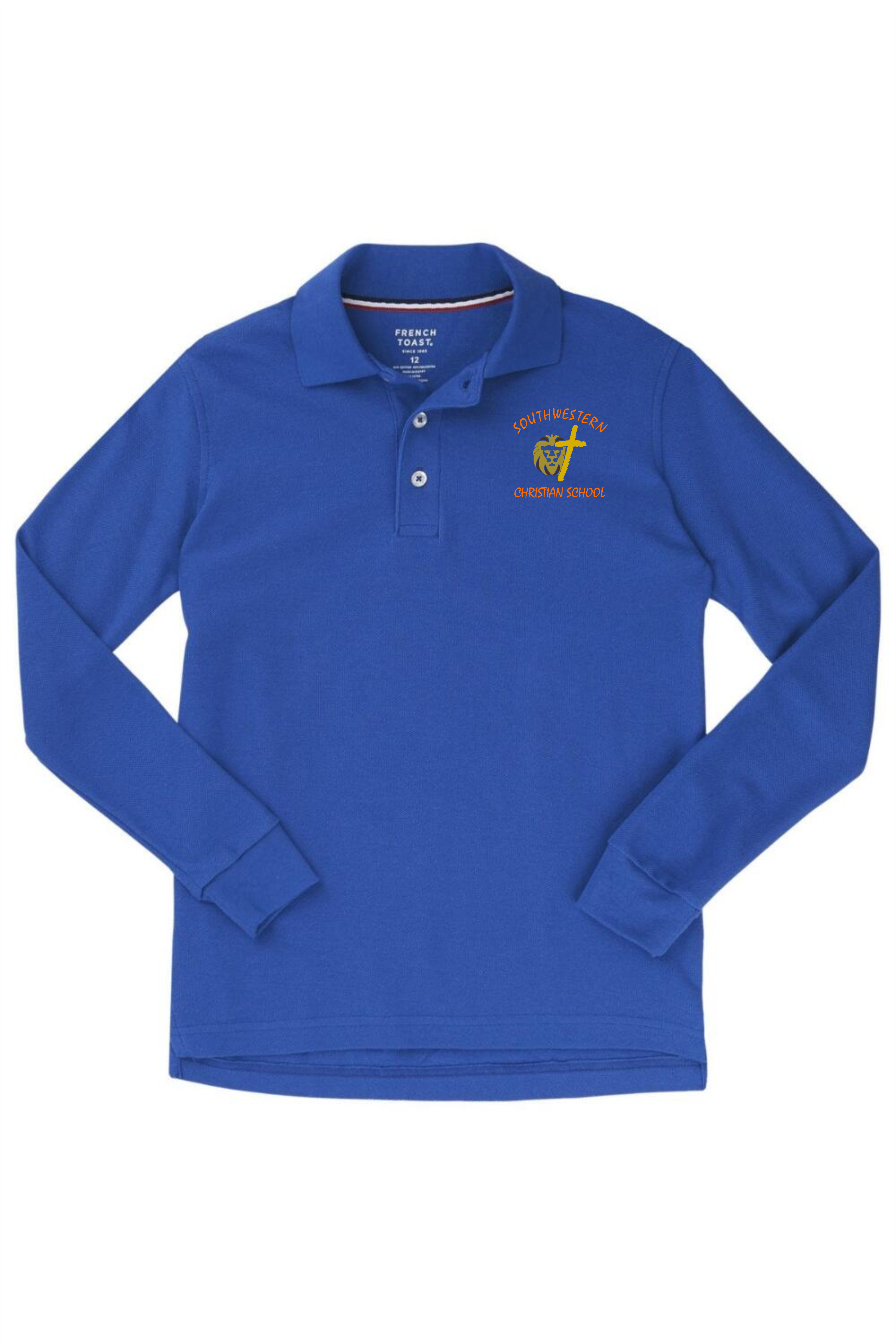 French Toast Boy's Long Sleeve Pique Polo - SWCS (Polo Size: XS - 4/5, French Toast Polo Color: Royal Blue - SWCS)