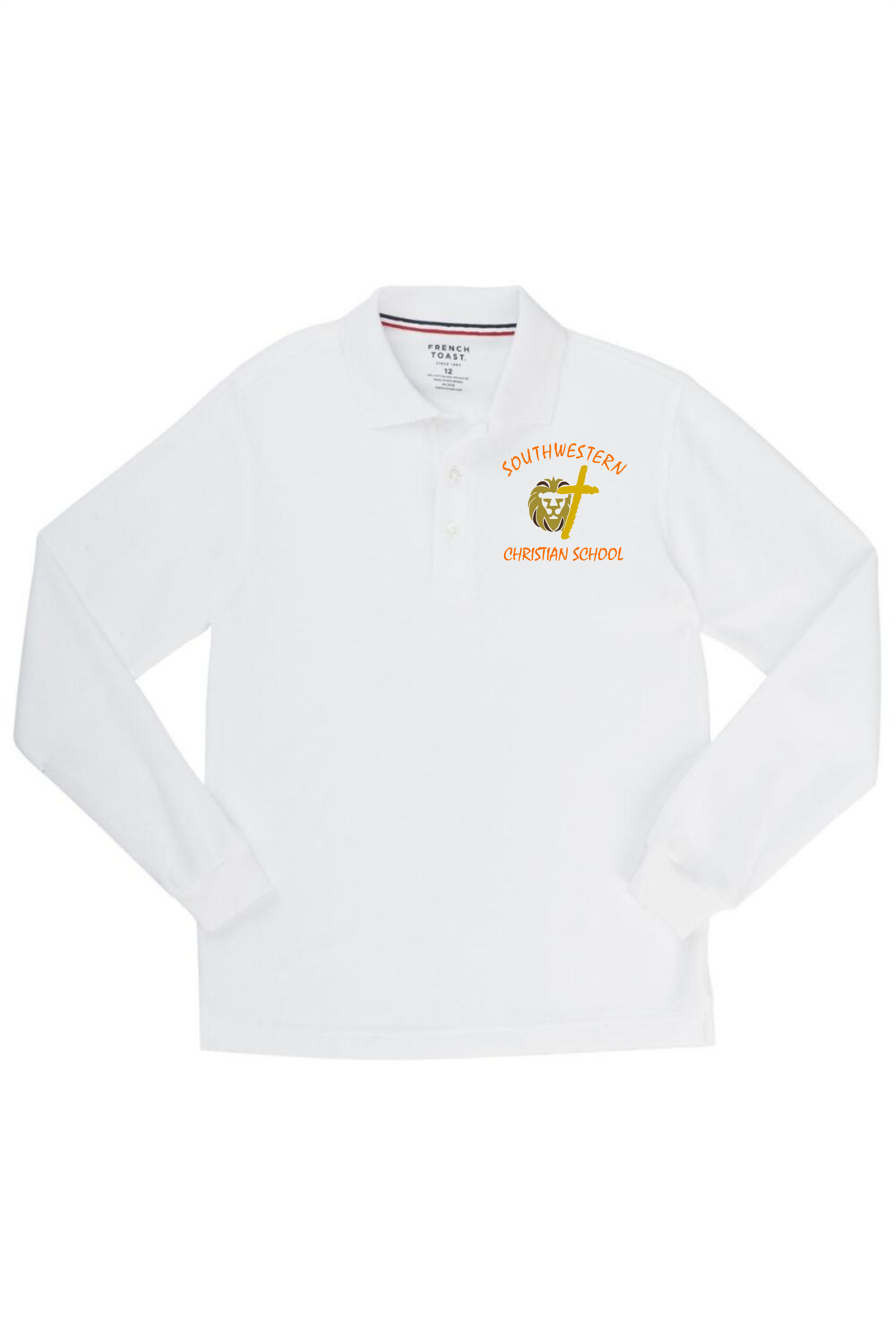 French Toast Boy's Long Sleeve Pique Polo - SWCS (Polo Size: XS - 4/5, French Toast Polo Color: White)