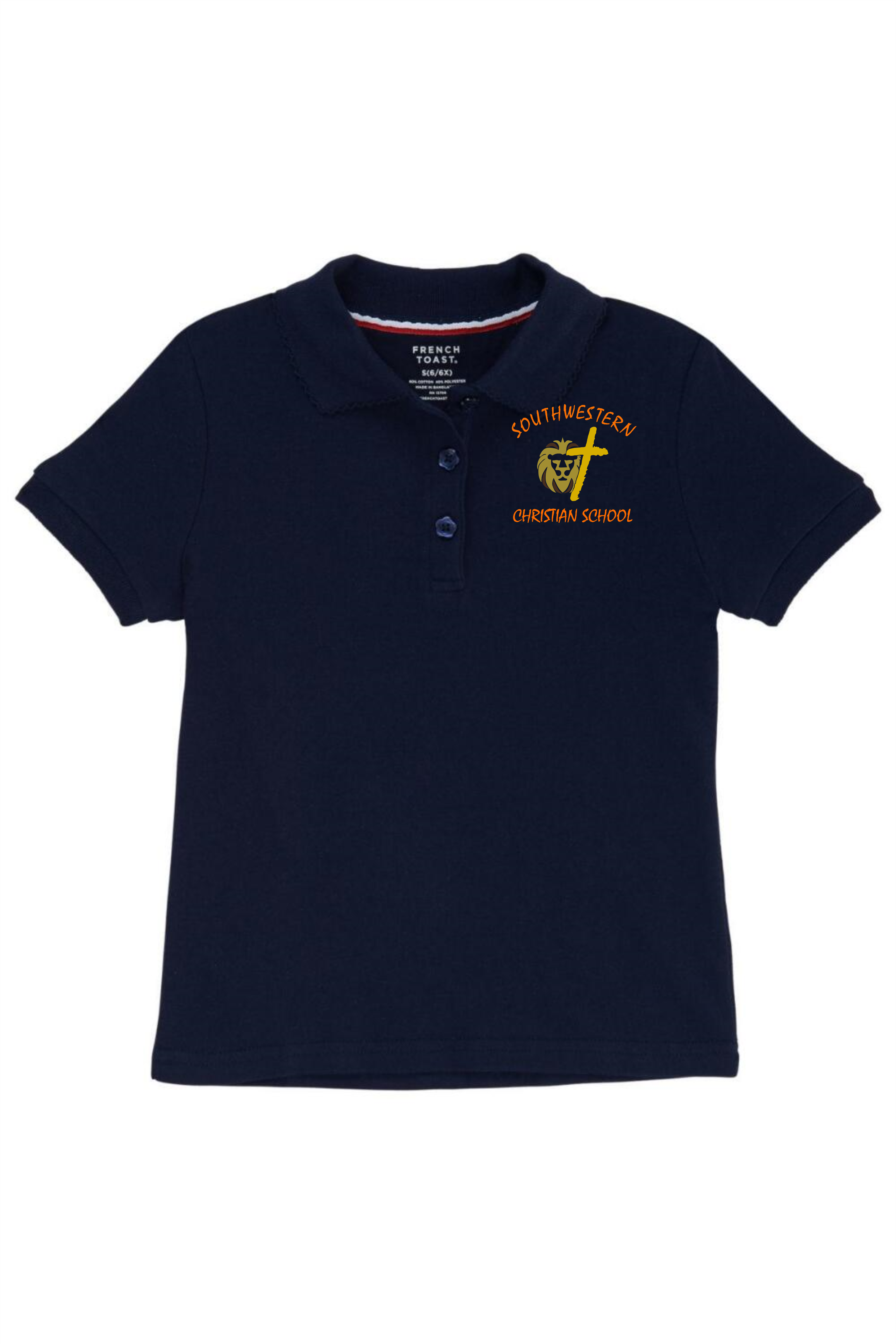 French Toast Girl's Cotton Short Sleeve Polo - SWCS (Polo Size: XS, French Toast Polo Color: Black - SWCS)