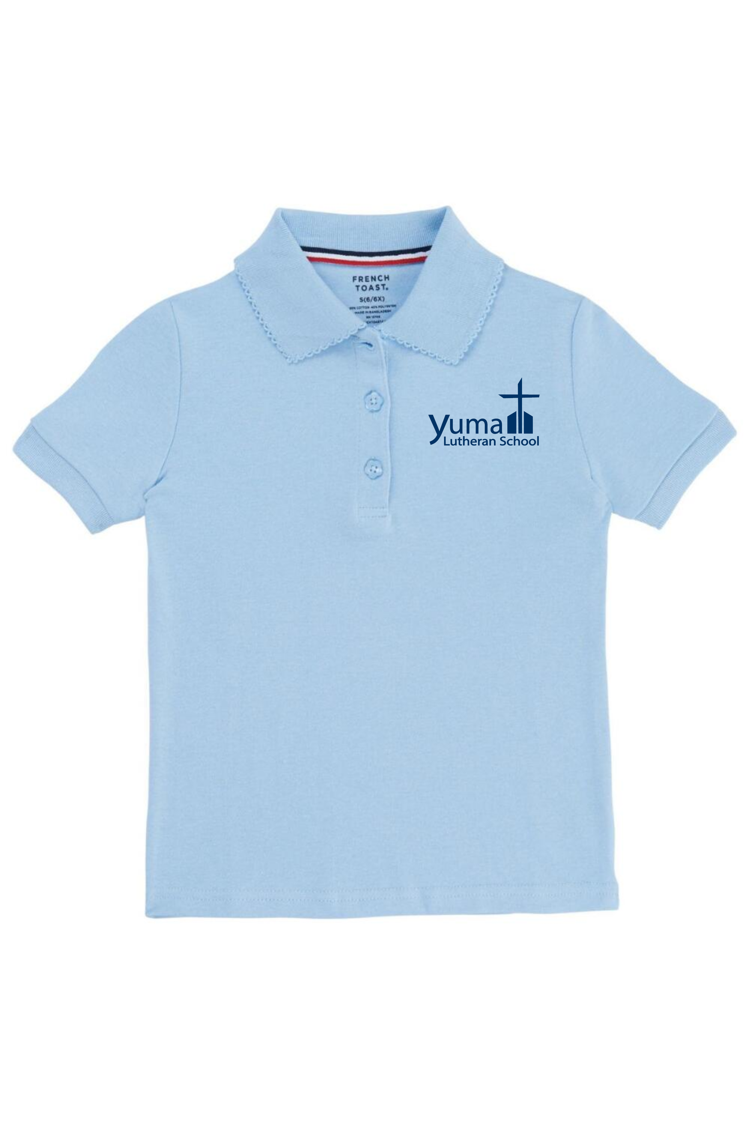 French Toast Girl's Cotton Short Sleeve Polo - YLS (Polo Size: 4T, French Toast Polo Color: Lt Blue - YLS)