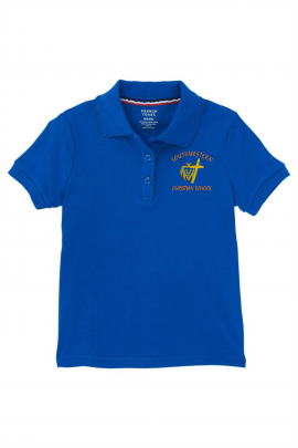 French Toast Girl's Cotton Short Sleeve Polo - SWCS (Polo Size: XS - 4/5, French Toast Polo Color: Royal Blue - SWCS)