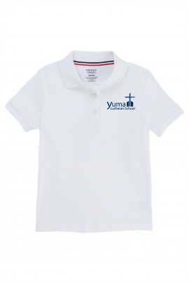 French Toast Girl's Cotton Short Sleeve Polo - YLS (Polo Size: SM - 6/6X, French Toast Polo Color: White)