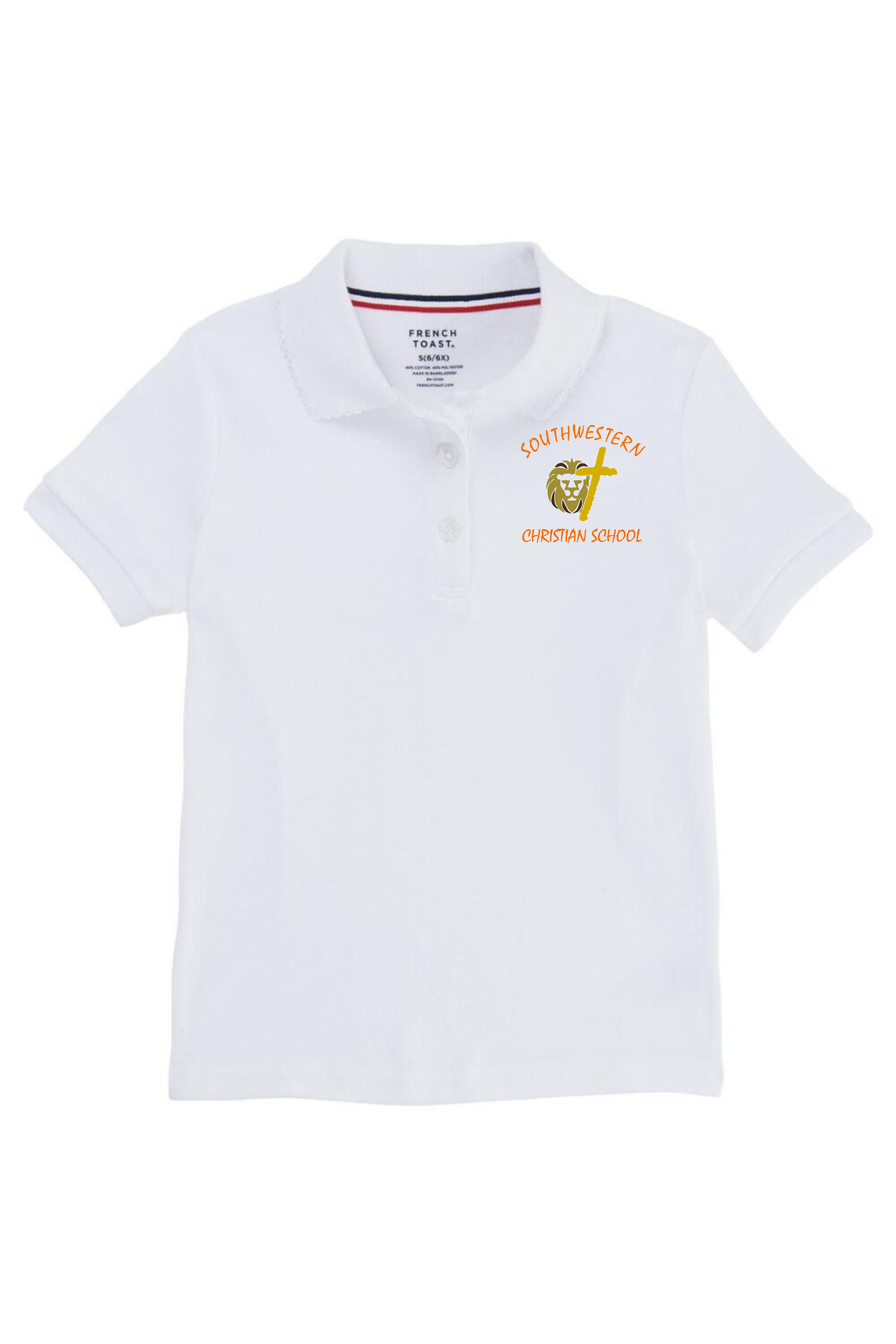 French Toast Girl's Cotton Short Sleeve Polo - SWCS (Polo Size: SM - 6/6X, French Toast Polo Color: White - SWCS)