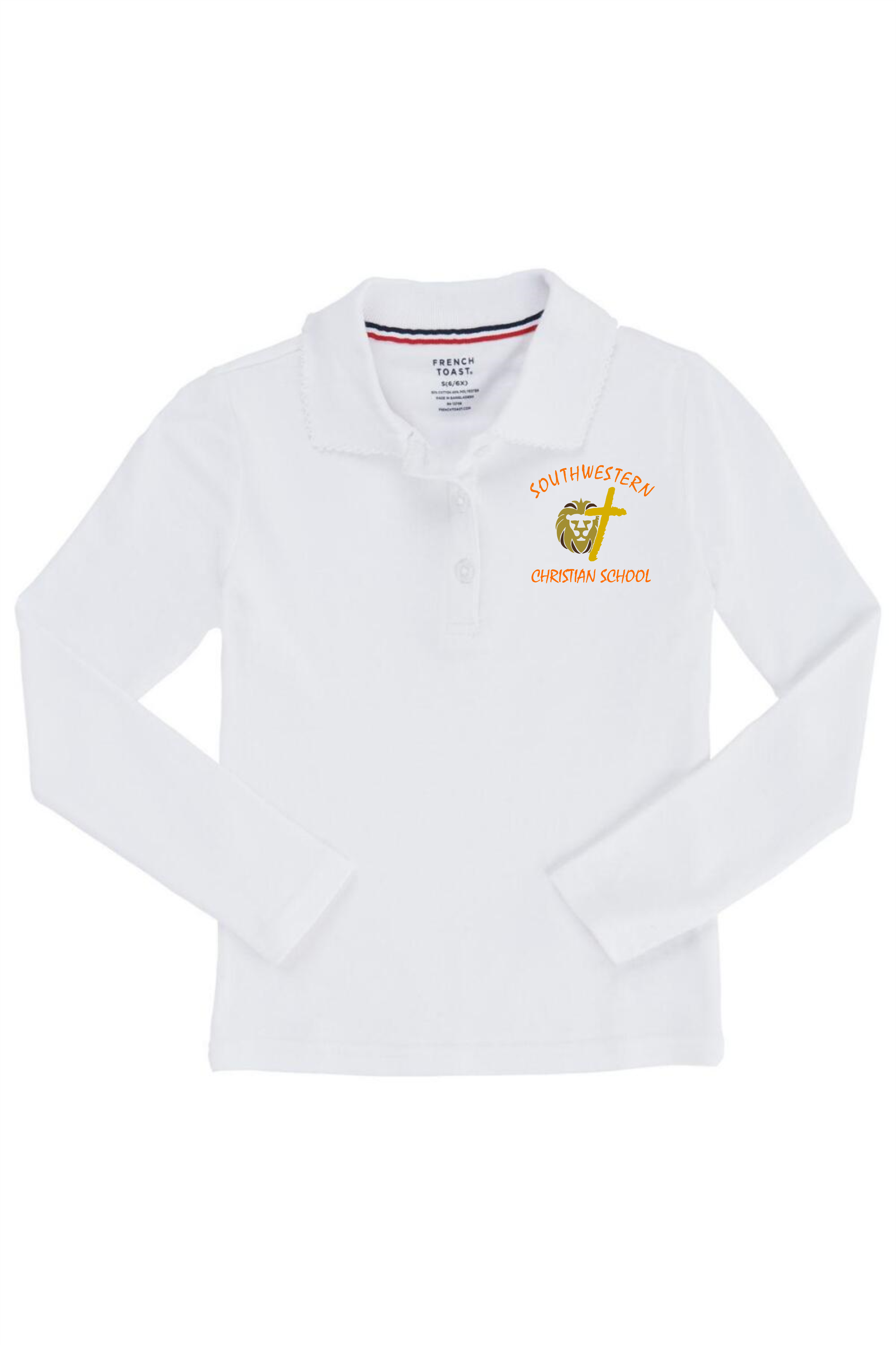 French Toast Long Sleeve Interlock Knit Polo with Picot Collar (Feminine Fit) (Polo Size: XS - 4/5, French Toast Polo Color: White - SWCS)