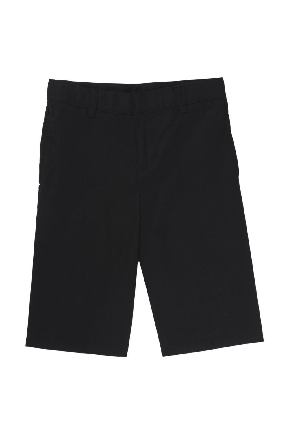 Boys Flat Front Adjustable Waist Uniform Shorts (Boy's Short Color: Black, Boy's Short Size: Size 4)