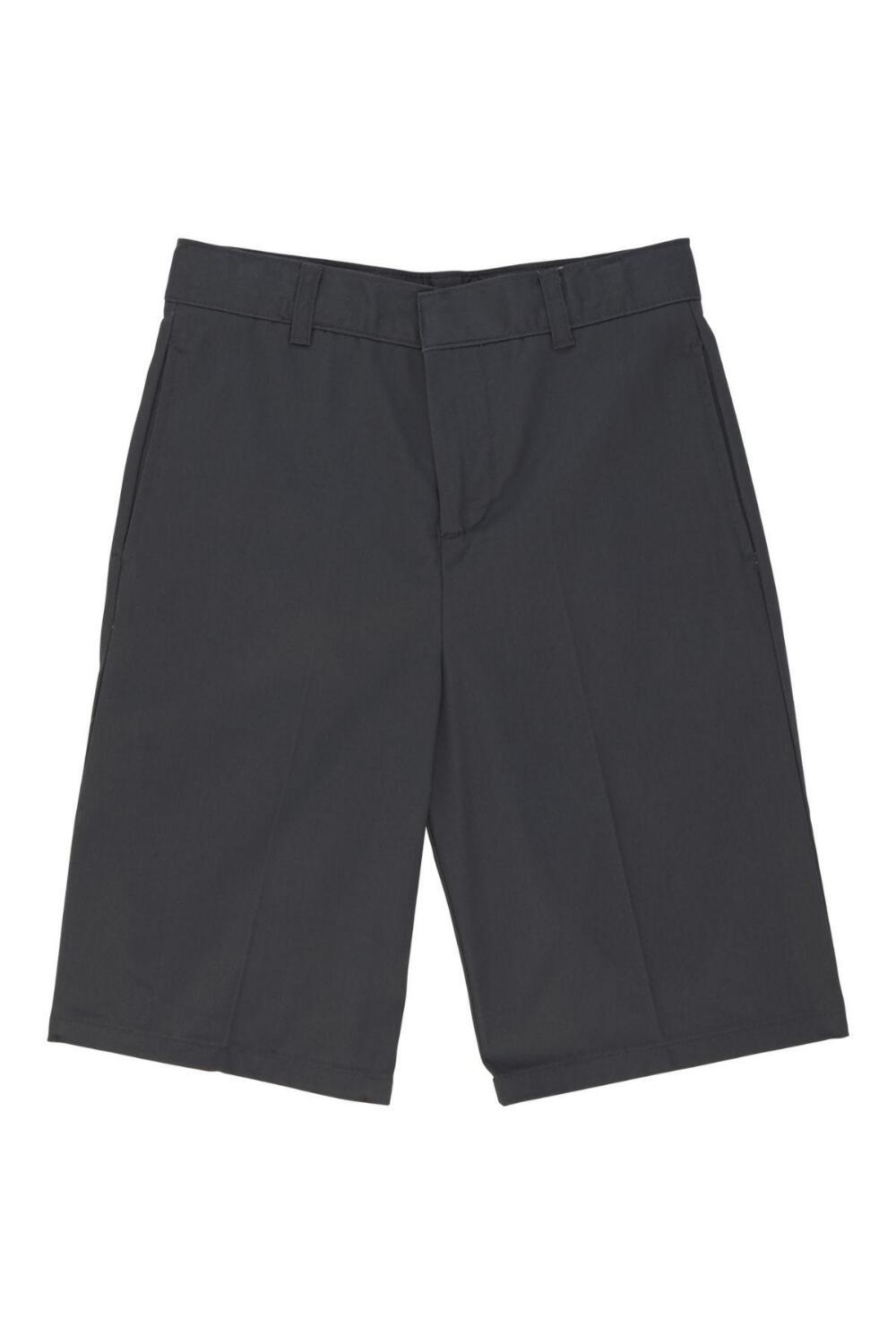 Boys Flat Front Adjustable Waist Uniform Shorts (Boy's Short Color: Grey - SWCS, Boy's Short Size: Size 4)